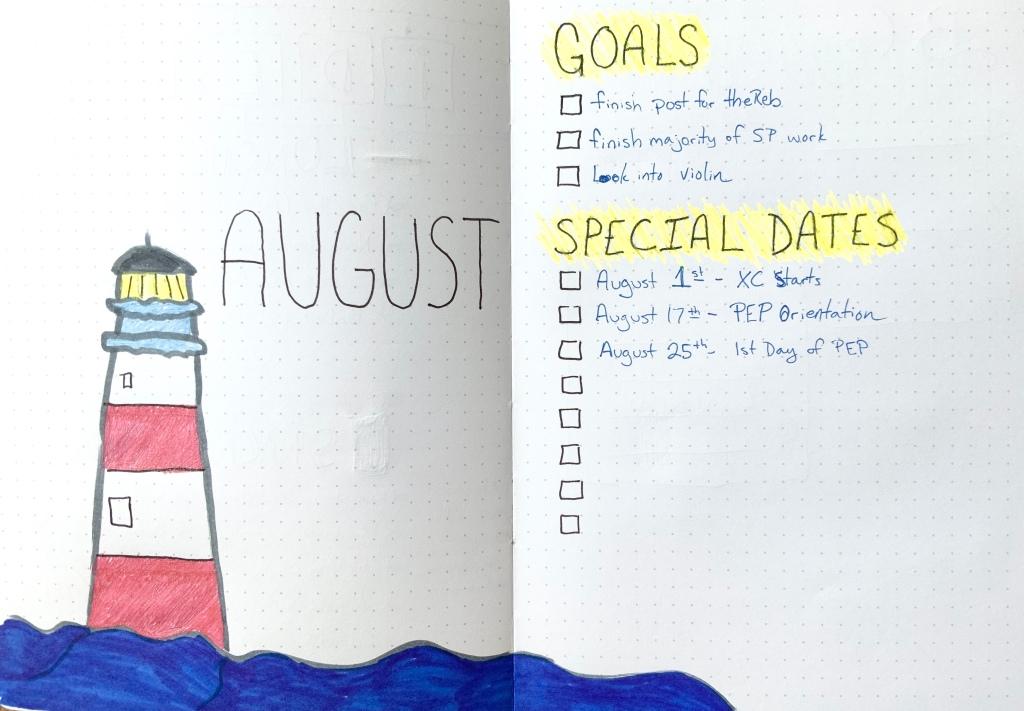 August BUJO cover bullet journal goals